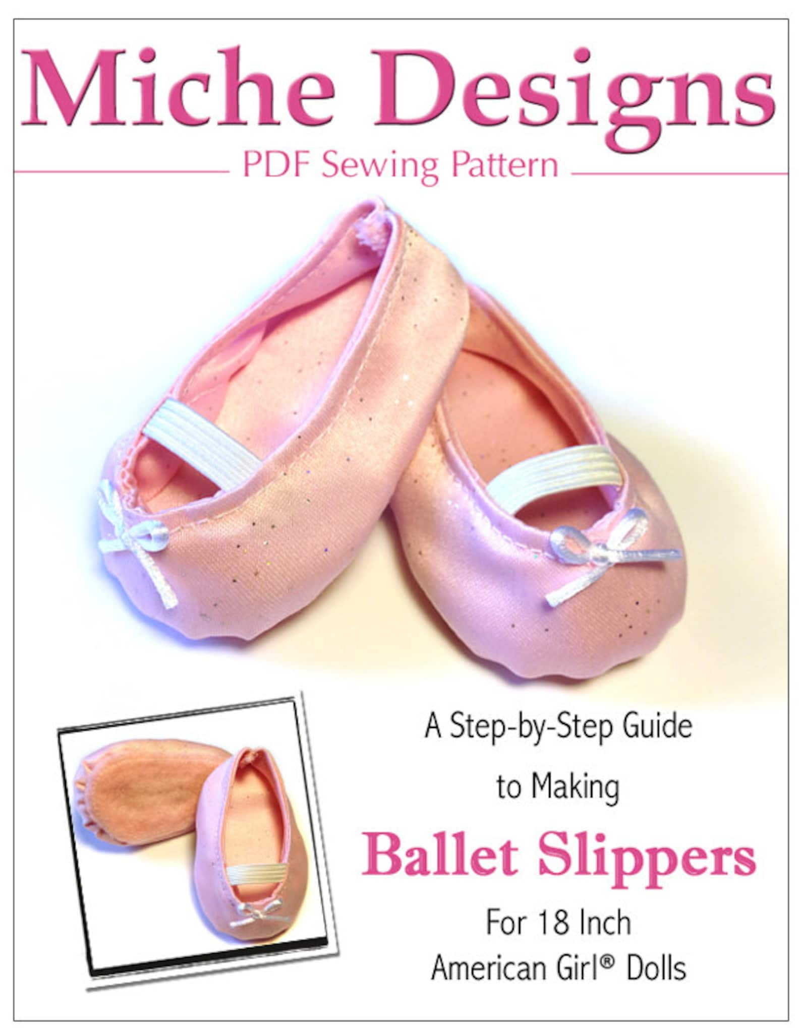 pixie faire miche designs ballet slippers shoe doll clothes pattern for 18 inch american girl dolls - pdf