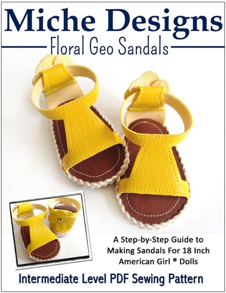 Pixie Faire Miche Designs Floral Geo Sandals Doll Clothes Shoe image 0