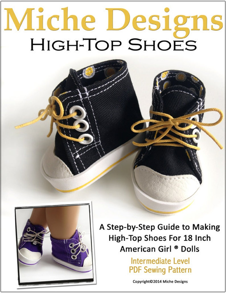 392c099400c69 Pixie Faire Miche Designs High Tops Doll Clothes Shoe Pattern for for 18  inch American Girl Dolls - PDF