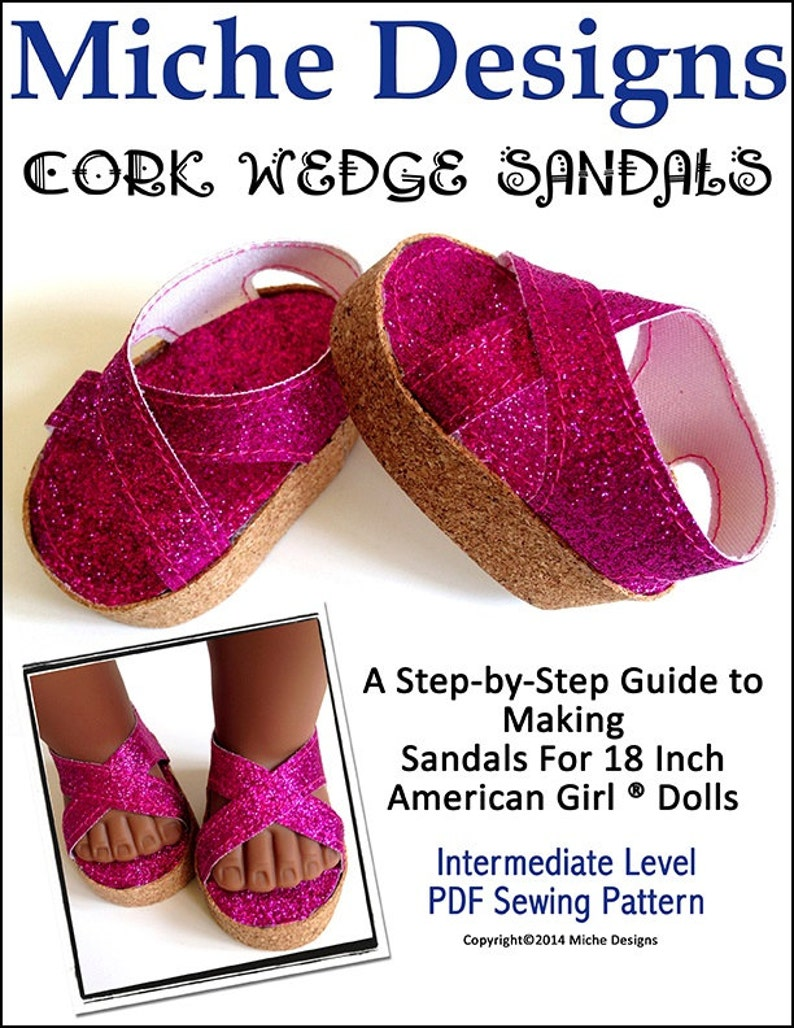 a9c4af0d23b3b Pixie Faire Miche Designs Cork Wedge Sandals Doll Clothes Pattern for 18  inch American Girl Dolls - PDF