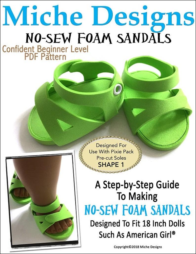 4997e616de108 Pixie Faire Miche Designs No-Sew Foam Sandals Doll Shoe Pattern for 18 inch  Dolls Such As American Girl - PDF