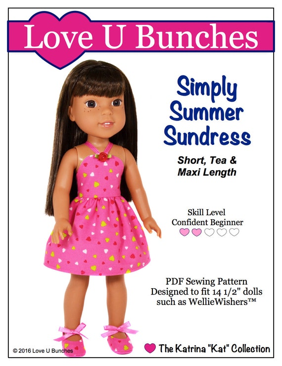 pixie faire love u bunches simply summer sundress doll clothes etsy