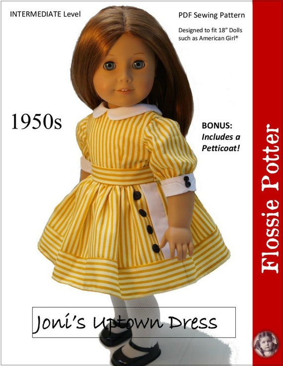 PDF sewing pattern 1930s Ruthies meet dress for 18 inch American Girl doll Kit scallop trim collar