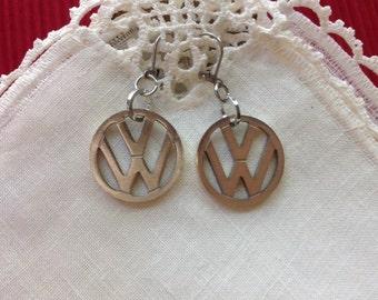 Volkswagen Earrings, VW Emblem, 1 inch, 25.4 mm