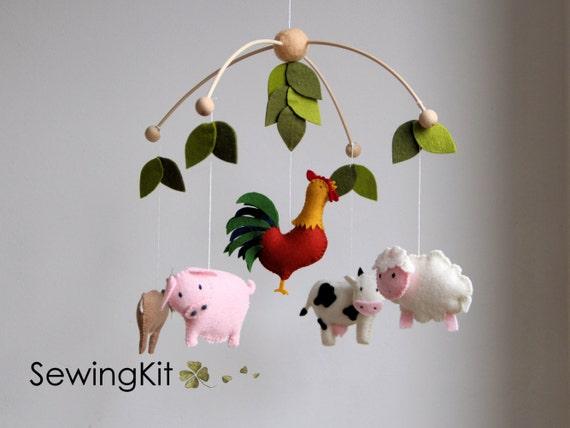 baby mobile farm diy baby mobile farm animal cow goat etsy. Black Bedroom Furniture Sets. Home Design Ideas