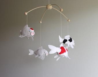 Koi baby mobile, Lucky koi, fish mobile, nursery decor, fish decor.