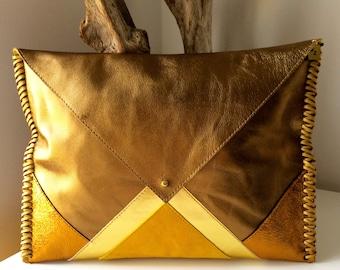 BRONZE SUNSHINE /  leather & suede clutch