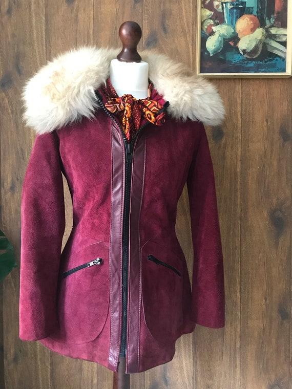 Vintage 60s 70s Penny Lane Jacket Coat Burgundy Sh