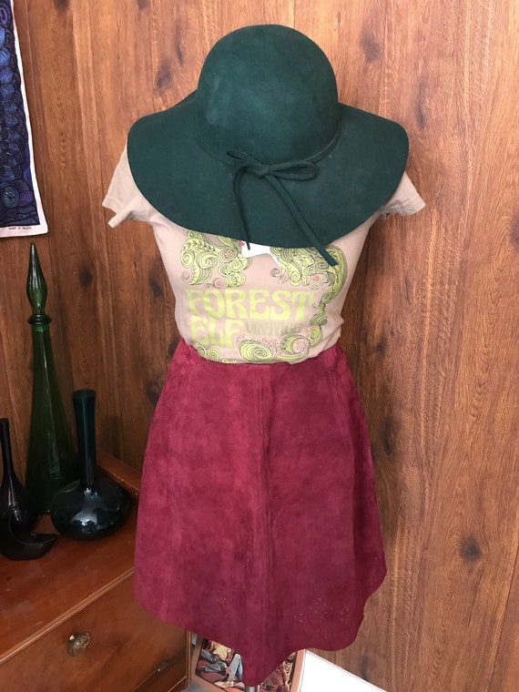 Vintage 60's 70's Burgundy red suede mini skirt
