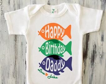 Happy Birthday Daddy Bodysuit Personalized Fish Shirt Gift From Baby Boy Dad Son