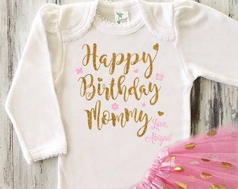 Baby Girl Happy Birthday Mommy Outfit Glitter Gold Bodysuit Gift From Daughter Mom