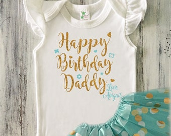 17d27d9c3 Baby Girl Happy Birthday Daddy Outfit, Baby Girl Happy Birthday Glitter  Bodysuit, Dad Birthday Gift from Daughter, Aqua and Gold Birthday
