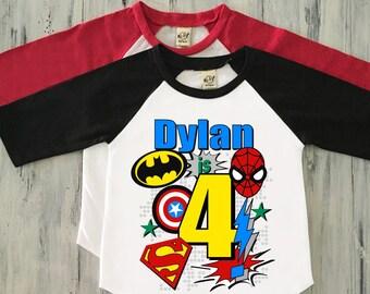 Boy Superhero Birthday Shirt Boys 4th Fourth Personalized