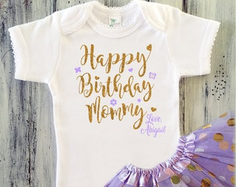 Happy Birthday Mommy Outfit Baby Girl Gold Onesie Set With Optional Lilac Tutu Mom Gift From Daughter