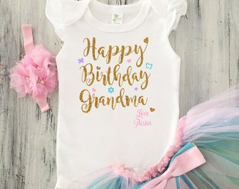 Baby Girl Happy Birthday Grandma Outfit Toddler Grandpa Gift From Granddaughter
