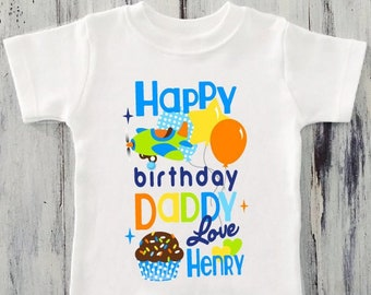 Toddler BOY Happy Birthday DADDY Shirt Personalized Airplane Dad Gift From Son Kids