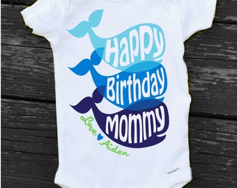 Baby Boy Happy Birthday Mommy OnesieR Personalized Whale Mom Gift From Son