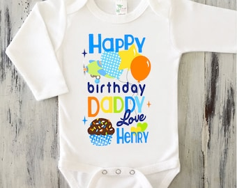 BABY BOY Happy Birthday DADDY Onesie Personalized Dad Gift From Baby Son Airplane Bodysuit For