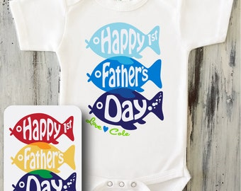 0e9dbce4 Baby Boy Happy 1st Fathers Day Fish Bodysuit, First Fathers Day Gift  Personalized Fish Shirt, Gift from Baby Boy Happy Fathers Day from Son