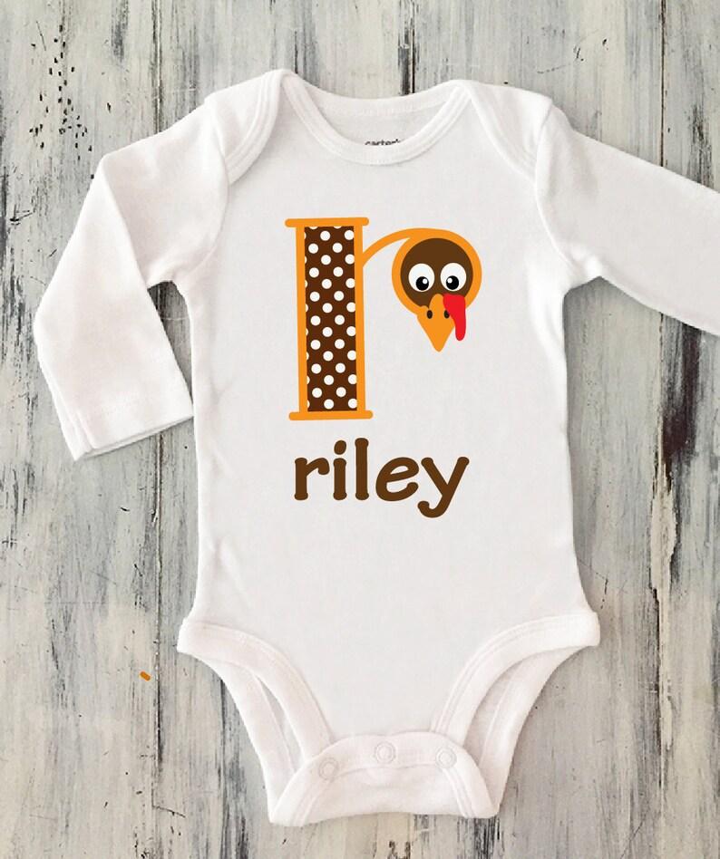 PERSONALIZED MONOGRAM CUSTOM Turkey Thanksgiving Baby Child Bodysuit T-Shirt Tee