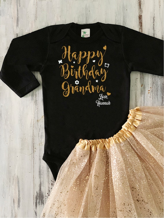 Black Happy Birthday Grandma Bodysuit Baby Girl Happy Birthday Grandma Outfit Grandparent Birthday Gift from Grandchild Black and Gold