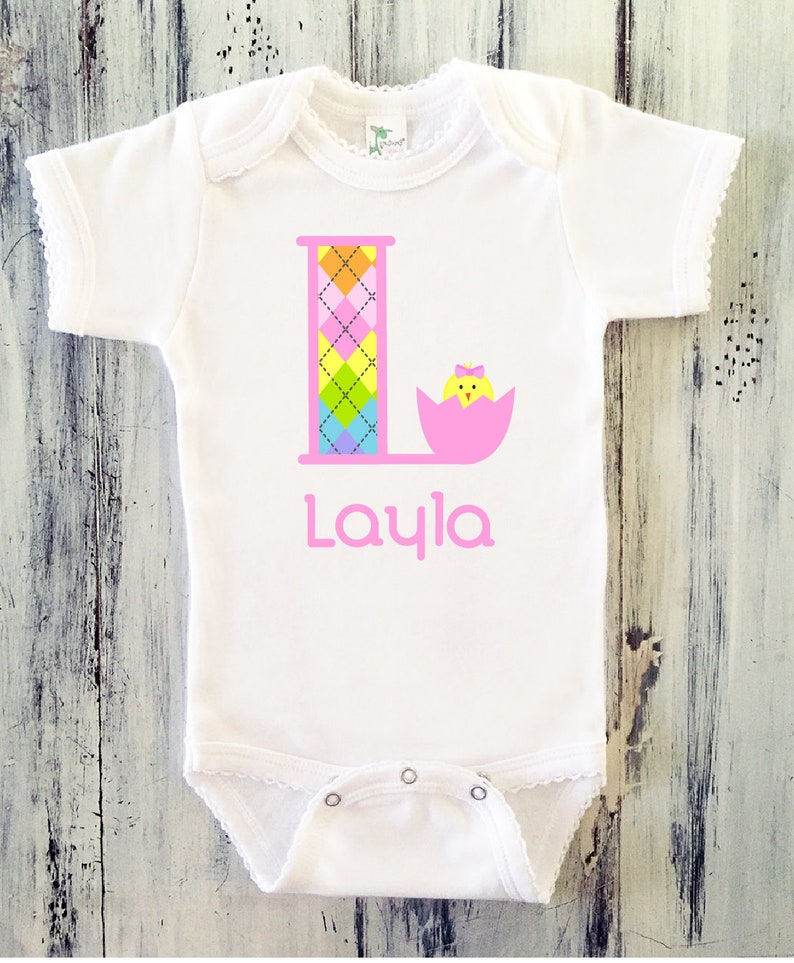c32d7a0ce Baby Girl EASTER Onesie Picot Edge Baby Girl Easter Monogram Onesie Toddler  Girl Easter Onesie Personalized Easter Initial Onesie