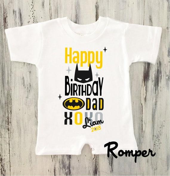 Baby Boy Happy Birthday DADDY Romper Batman Personalized Gift