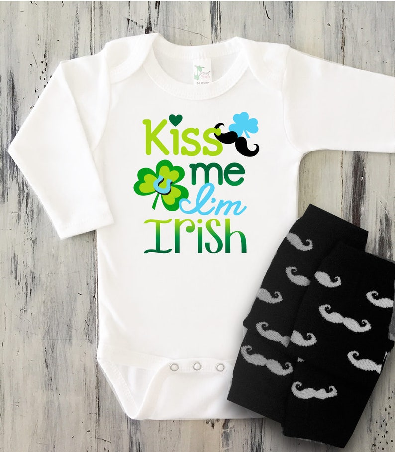 d6e6511c4 Baby Boy Kiss Me I'm Irish St PATRICKS Day Onesie with | Etsy