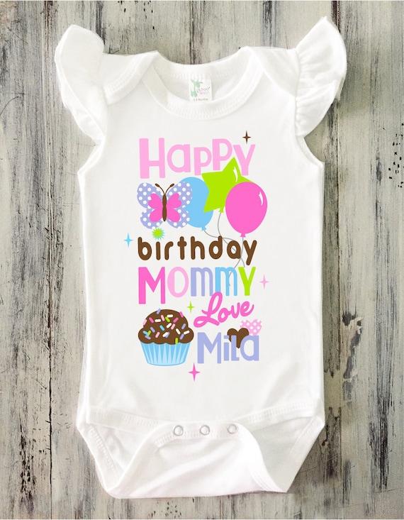 Happy Birthday MOMMY Ruffle Bodysuit Baby Girl Personalized