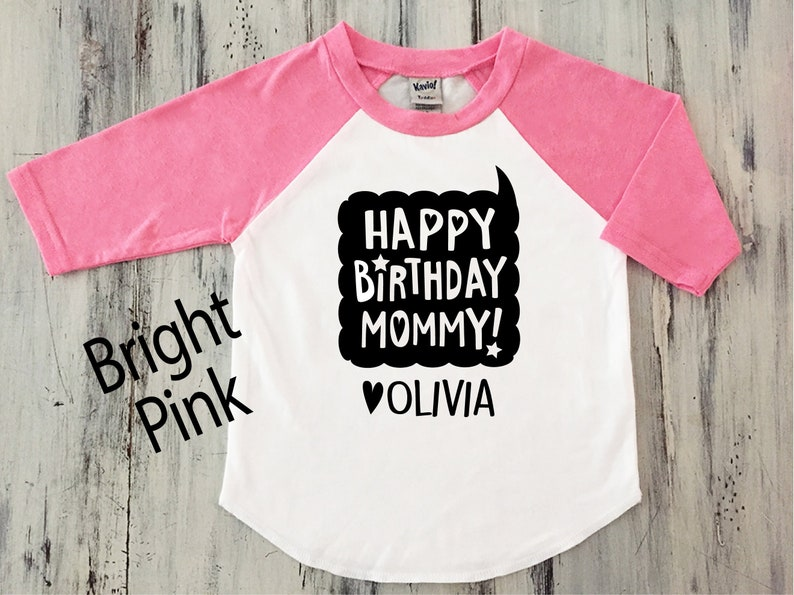 Toddler Girl Happy Birthday MOMMY Shirt Baseball Sleeve