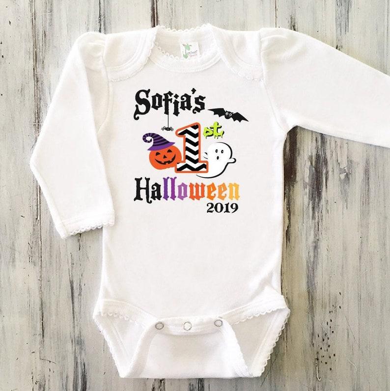 Personalized Baby Girl 1st Halloween Bodysuit Girls Halloween Bodysuit Baby Girl My First Halloween Outfit Baby Girl 1st Halloween Outfit