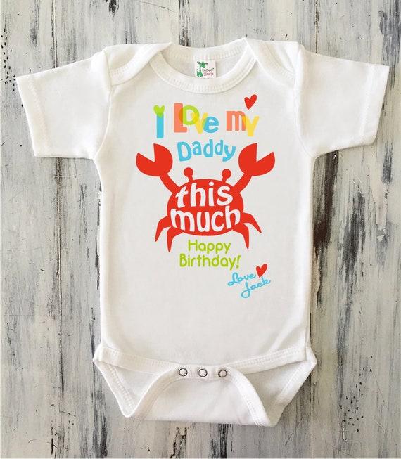 Baby BOY Happy Birthday DADDY Onesie Personalized CRAB