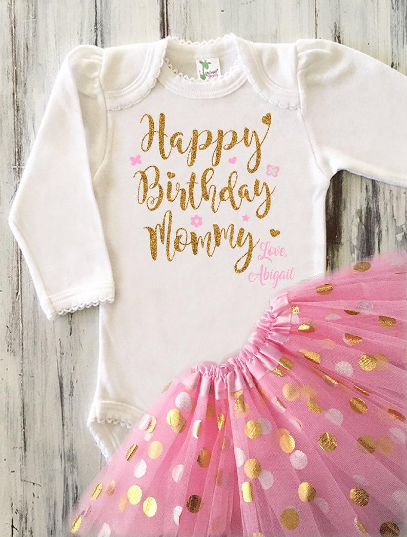 0381b2f14 Baby Girl Happy Birthday Mommy Outfit Happy Birthday Glitter | Etsy