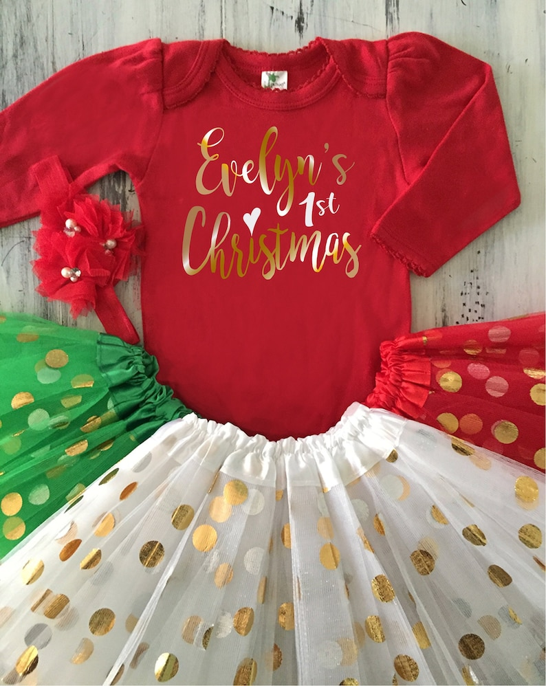 553f6229d Baby Girl My First CHRISTMAS Outfit Personalized Red Onesie White Gold Tutu  Baby... Baby Girl My First CHRISTMAS Outfit Personalized Red Onesie White  Gold ...