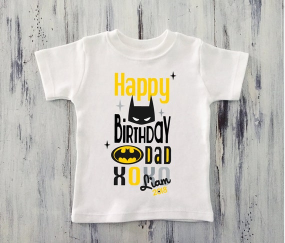 Toddler Boy Happy Birthday DADDY Shirt Batman Personalized