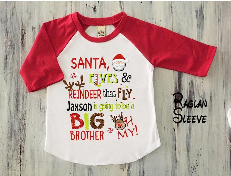 42ce92ea535 Boy Christmas Big Brother Announcement Shirt Toddler Boy Big
