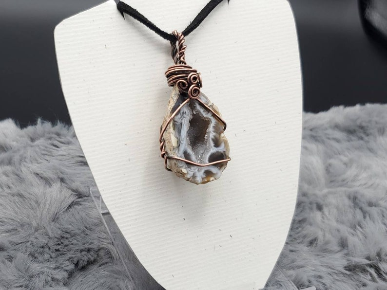Agate Geode Wire Wrapped Pendant