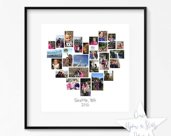20x20 Family Heart Storyboard, 25 Image Collage, Photographer Template, Customizable Photo Collage