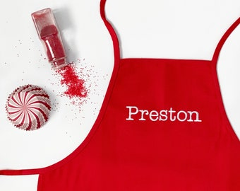 Personalized or Monogrammed Red Christmas Children's Apron
