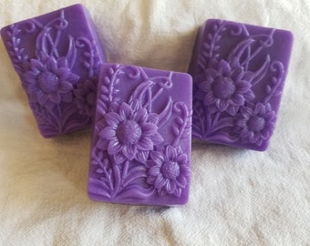 beautiful floral olive oil soap with a lemongrass sage scent
