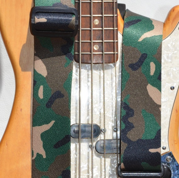 guitar strap bass strap camouflage guitar or bass etsy. Black Bedroom Furniture Sets. Home Design Ideas
