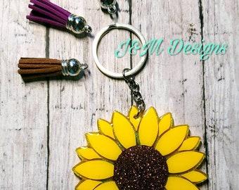 Sunflower Keychain Etsy