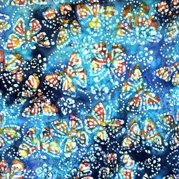 In Blue /& Grey John Louden Mini Indian Elephants Batik Fabric 100/% Cotton
