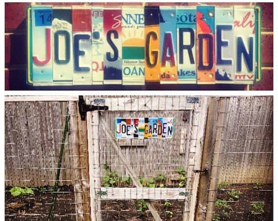 Custom Garden License Plate Name Sign, Gift for Gardener, Outdoor Garden Decoration, Personalized Sign, Custom Names, License Plate Art,