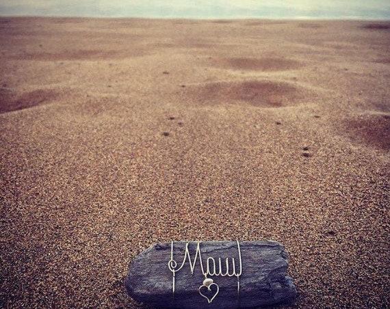 Maui Puka Shells Beach Driftwood Wire Art Ocean Decor Made in Hawaii, Beach Gifts, Maui Art, Driftwood, Wire Names, Puka Shells, Hawaiian