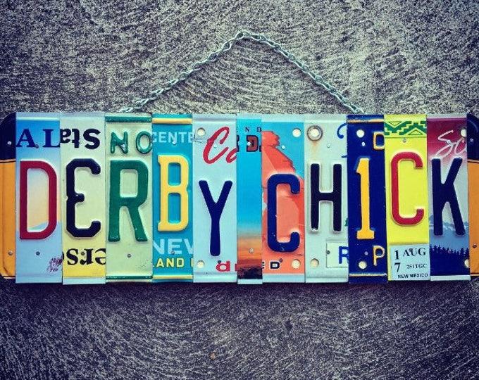 DERBY CHICK. Roller Derby- License plate- Gift for her- Roller Skating Gift Idea. Derby girl gift.