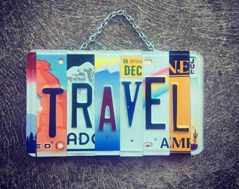 TRAVEL. License Plate Art. Travel Gifts. Travel Gift for Bride and Groom. Travel Gifts for Men. Travel Decor. Travel Inspired Art.