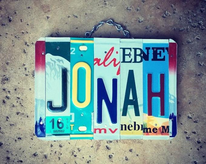 Boys Name Sign, Jonah, Boys Gift, Gift for Boys, License Plate Art, Christmas Gift Idea, Baby Shower Gift, Personalized Gift.