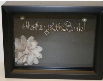 Mother of the Bride Gift, Wedding Wire Names, Personalized Wedding Gift, Black Shadow Box, Bridal Shower Gift, Gift for Mom.