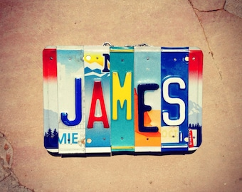 JAMES License Plate Art - Gift for him - eco friendly - boys room decor - bachlor pad - recycled license plates - custom name